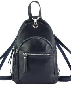 blue backpack in soft genuine leather from italy