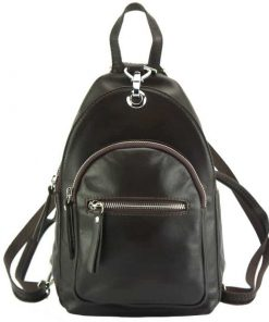dark brown backpack in soft genuine leather from italy anton
