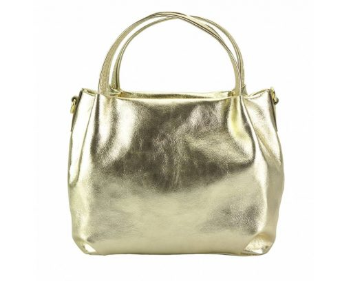 golden color italian handbag in genuine leather from italy