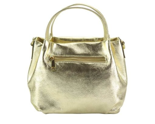 golden color handbag in genuine leather from italy