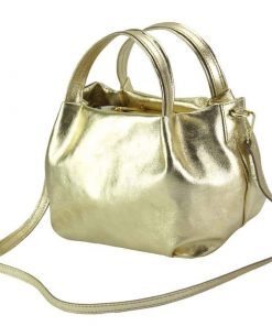 golden handbag in soft leather from italy