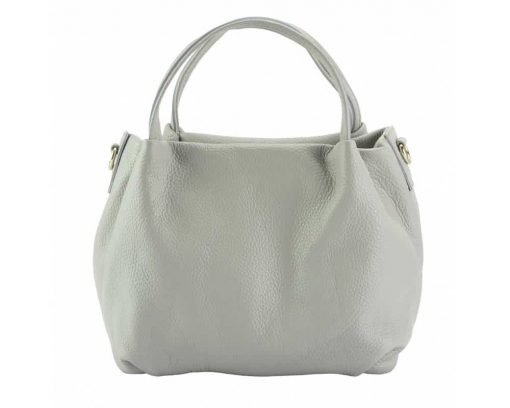 white handbag in soft leather from italy