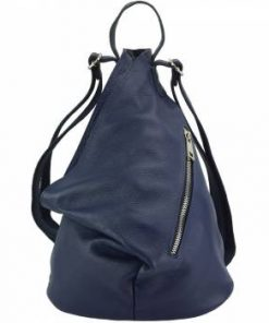 blue backpack in natural soft leather from italy antonieta for woman