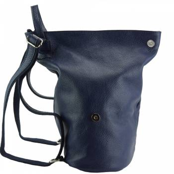 blue backpack in natural leather from italy antonieta