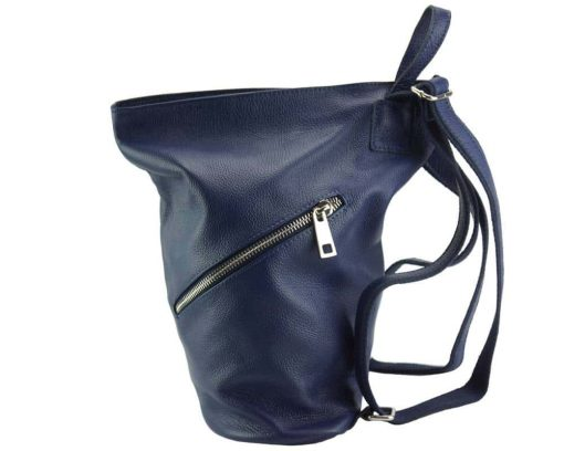 blue backpack in soft natural leather from italy for woman
