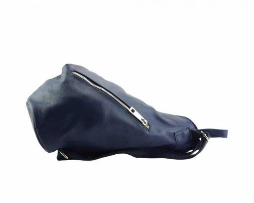 blue backpack in soft leather from italy for woman