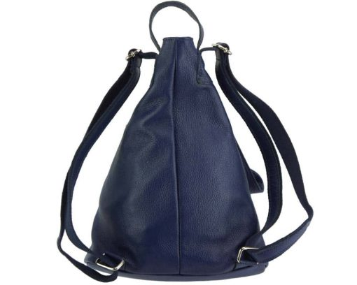 blue backpack in soft genuine leather