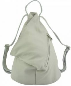 white backpack in soft real leather Antoaneta