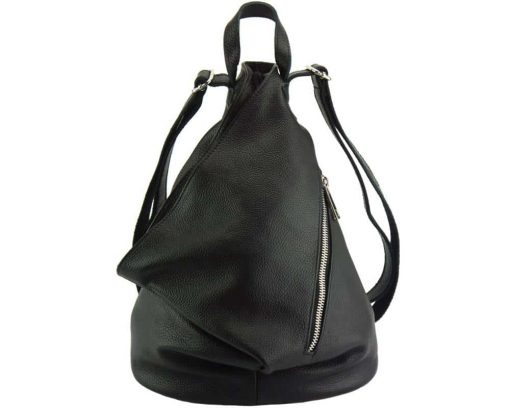 black backpack in soft natural leather