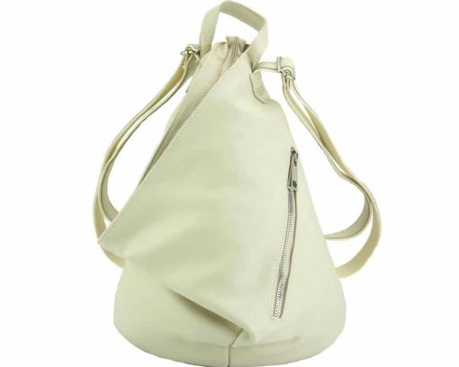beige backpack in soft genuine leather