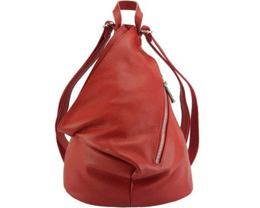 red backpack in soft genuine leather