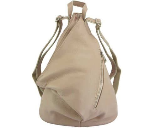pink backpack in soft genuine leather