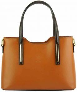 tan dark brown handbag for woman from italy
