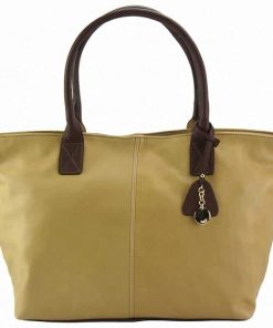 light taupe brown bag in genuine leather