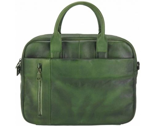 dark green business bag with vintage leather for woman