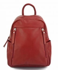 red backpack unisex big of genuine leather