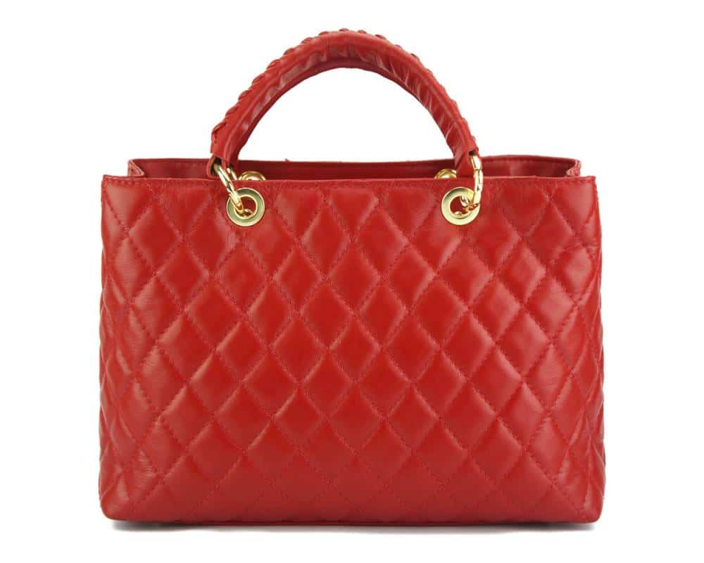 red genuine leather handbag for woman