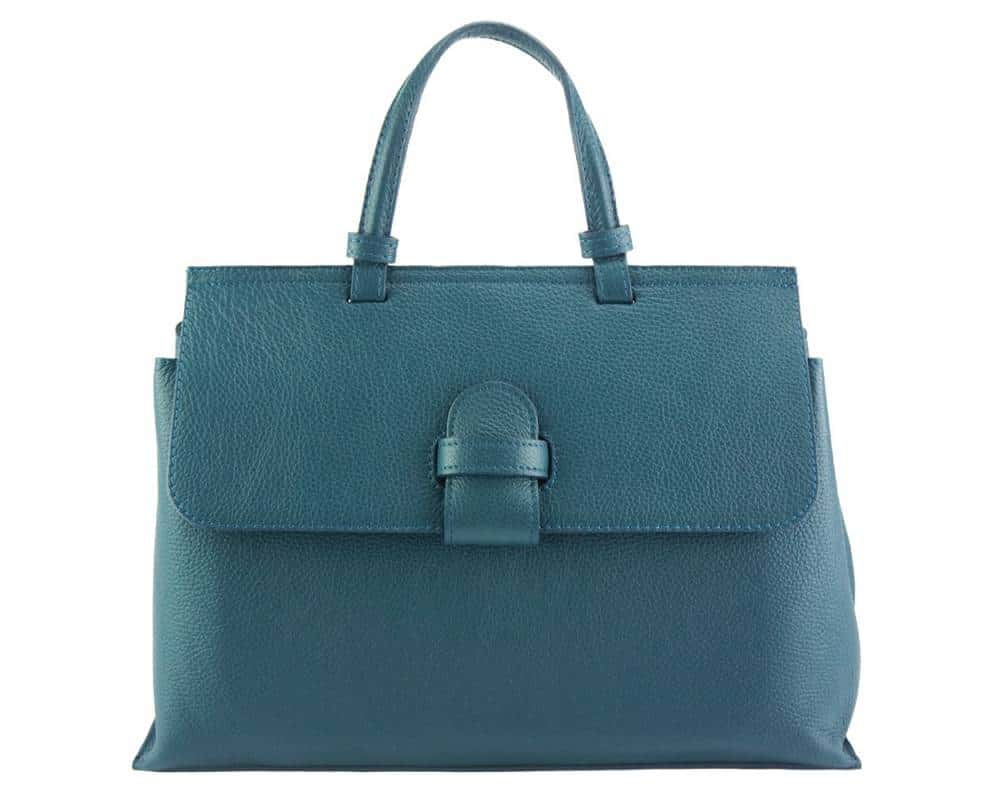 blue handbag for women small of genuine leather
