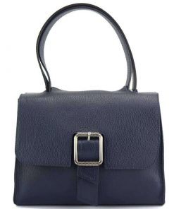 blu handbag of genuine leather for woman
