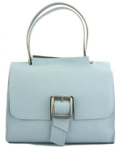 light cyan bag of leather for woman
