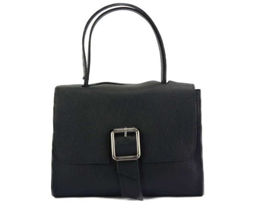 black handbag of genuine leather for woman