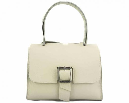 beige handbag of genuine leather for woman