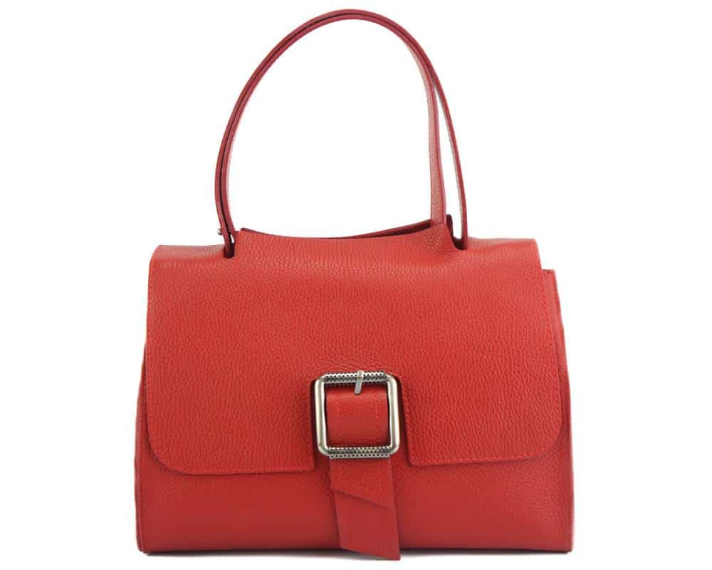 red handbag of genuine leather for woman