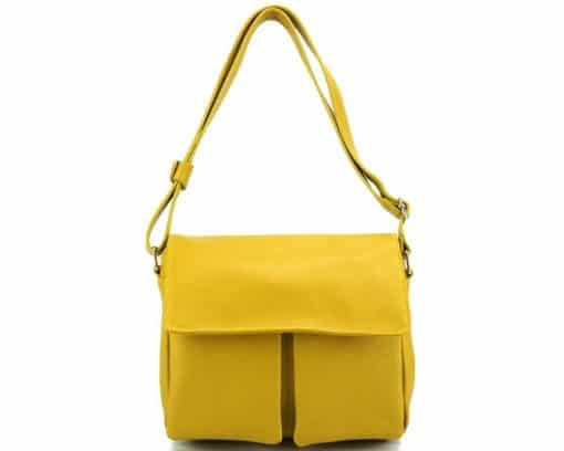 yellow color shoulder bag martina in natural leather for woman