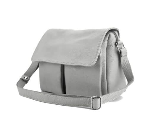 grey color shoulder bag martina in real leather for woman