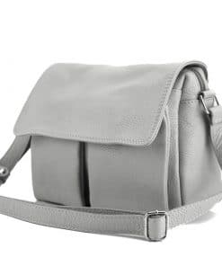 grey shoulder bag martina in natural leather for woman