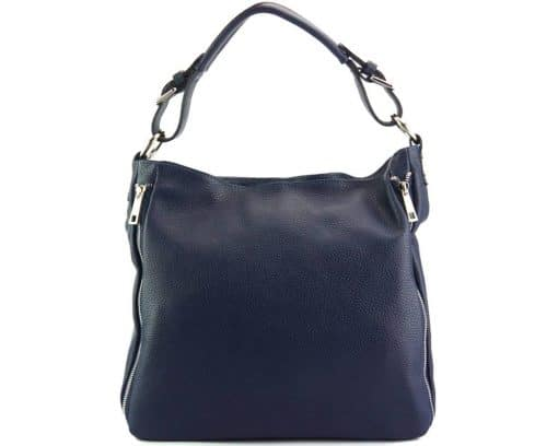 dark blue shoulder bag in italian soft leather for woman