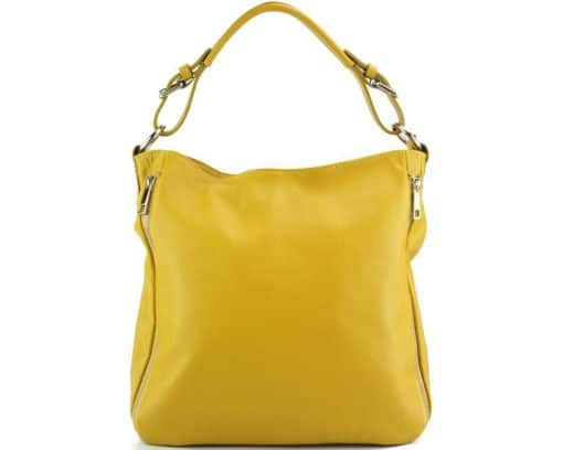 yellow shoulder bag in real italian soft leather for woman from italy