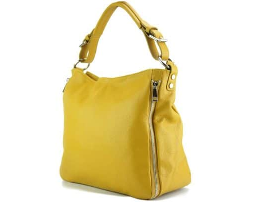 yellow shoulder bag in genuine italian leather for woman