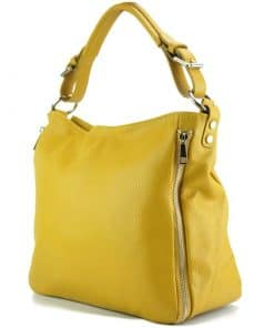 yellow bag in real italian leather for woman