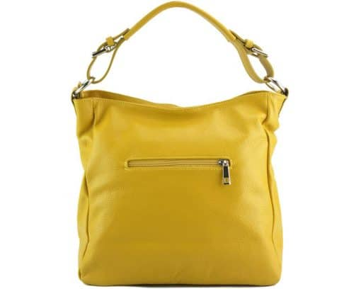 yellow shoulder bag in real leather for woman from italy