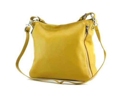 yellow shoulder bag in genuine leather for woman from italy
