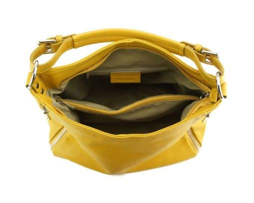 yellow shoulder bag in natural leather for woman from italy