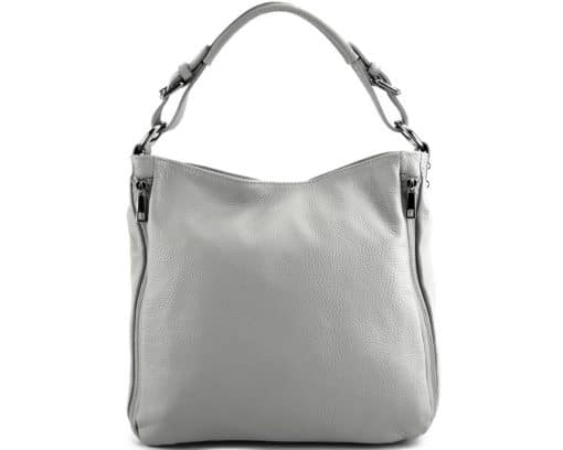 grey shoulder bag in natural leather for woman from italy