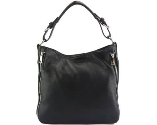 black shoulder bag in natural leather for woman from italy
