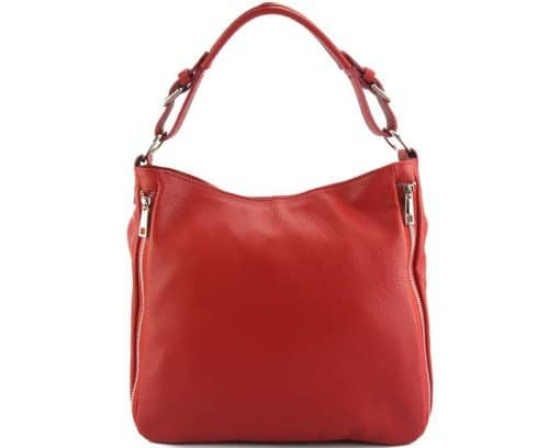 red shoulder bag in natural leather for woman