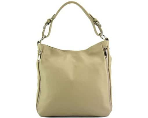 light taupe shoulder bag in natural leather for woman from italy
