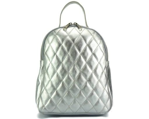silver color backpack barbara in quilted real leather for woman