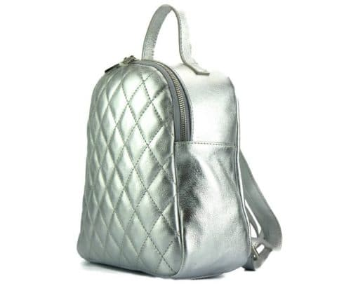silver color backpack barbara in quilted genuine leather for woman