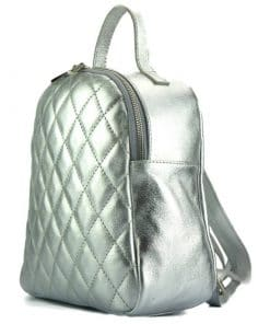 silver color backpack barbara in quilted natural leather for woman