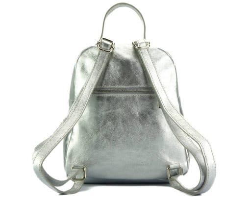silver color backpack barbara in quilted leather for woman