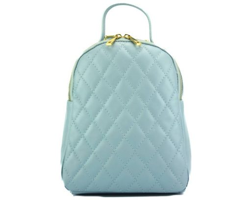 light cyan color backpack barbara in quilted leather for woman