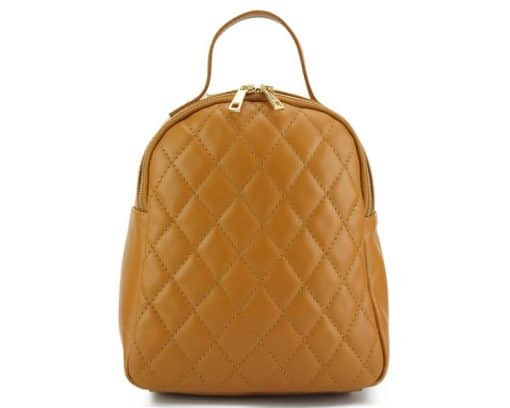 tan color backpack barbara in quilted leather for woman
