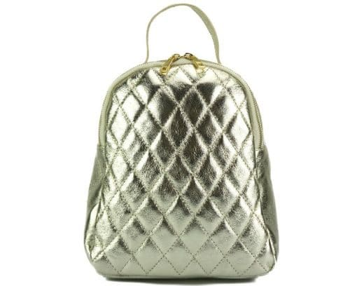golden color backpack barbara in quilted leather for woman