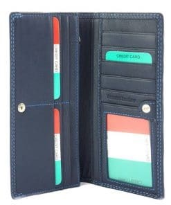 dark blue wallet carlita in soft genuine leather for woman