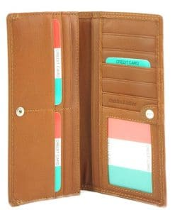 tan wallet orange wallet bianca in soft genuine leather in soft genuine leather for woman